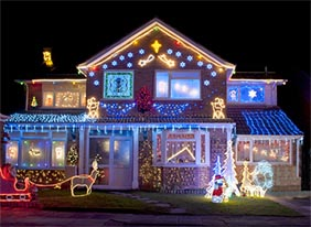 A house decorated with holiday lights