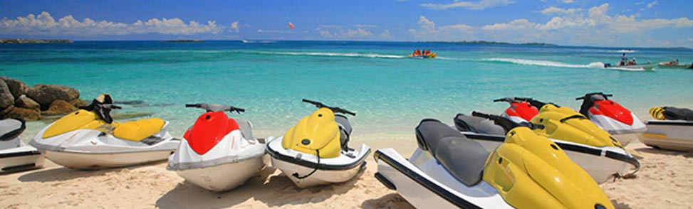 Jet Skis lying on a sunny beach