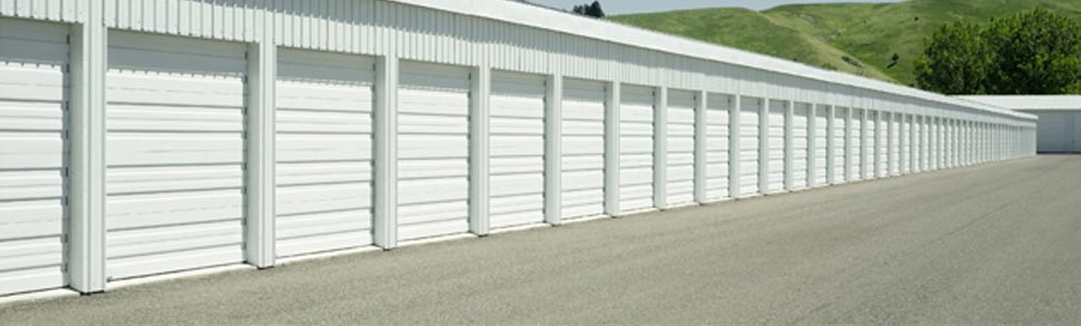 Outdoor storage units during the Spring