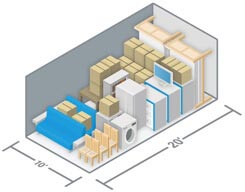 Diagram of 10 by 20 Storage Units