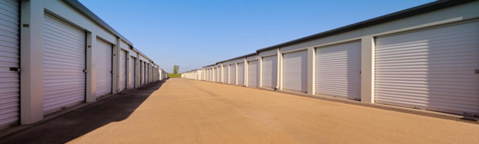 A storage facility during the summer
